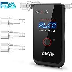 Oasser Ethylotest Electronique Alcootest Professionnel à Capteur Electrochimique Testeur d'Alcool à Ecran LED d'Affichage Numérique avec 4 Embouts