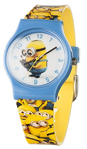 Image of Minions Children's Quartz Analogue Display Watch with White Dial and Yellow Plastic Strap MNS18