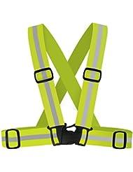 True carbono alta visibilidad Running, ciclismo, ciclismo, senderismo, y al aire libre cinturón reflectante, chaleco de seguridad, color verde, tamaño mediano