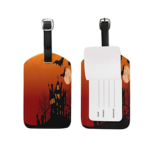 Halloween Full Moon Haunted House Bats Luggage Tag for Baggage Suitcase Bag Travel Label Leather 1 Piece Set (Bat House Kit)