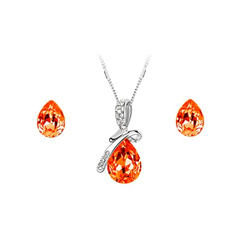 Nakabh Red Austrian Crystal Combo Jewellery of Pendant Set With Earrings & Bracelet For Girls and Women in Love