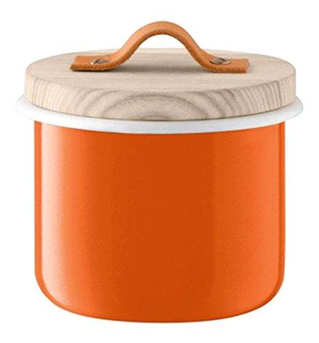 LSA International Utility Behälter Esche und Deckel, Emaille, Kürbis orange, 14cm