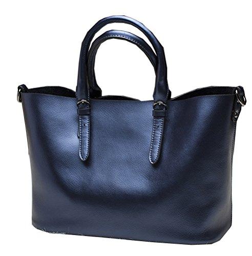 Yan Show Damen Lederne Einkaufstasche Schulter Beutel Handtasche /Lila Blau