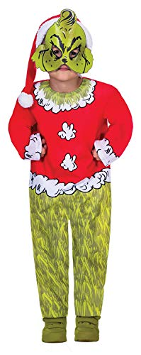 Childrens Boys Girls Official The Grinch Santa Dr Seuss Christmas TV Book Film Xmas Festive Fancy Dress Costume Outfit 4-12 Years (4-6 Years)