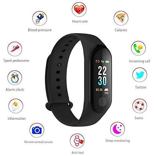 UnTech M3 Fit Band Activity Tracker Heart Rate Monitor, Sleep Monitor, Blood Pressure Monitor, Calorie Burned OLED Display Activity Tracker Bracelet Wristband USB Charging for Android iOS (Black)