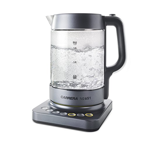 CARRERA 651 Wasserkocher aus Glas mit Temperatureinstellung, 2200, 1.7 liters, Transparent