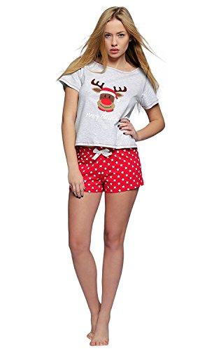 SENSIS weihnachtlicher Pyjama Schlafanzug Hausanzug mit niedlichem Rentier-Print, Shorty, Gr. M (Flanell-capri-hosen Baumwolle)