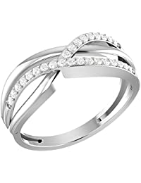 PARSHVA DIAM Wedding & Engagement Collection 0.20 CT Round Real Natural Diamond Infinity Twist Ring Solid 10K...