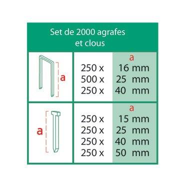 Agrafeuse pneumatique avec 2000agrafes clous, accessoires et mallette grapar à enfoncer cloueuse à tapisser Air comprimé