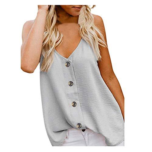 iHENGH Damen Sommer Top Bluse Bequem Lässig Mode T-Shirt Blusen Frauen V Ansatz Weste der Art und Weisefrauen ärmelloses Knopf Hemd Blusen beiläufige Trägershirts(Beige, M) -