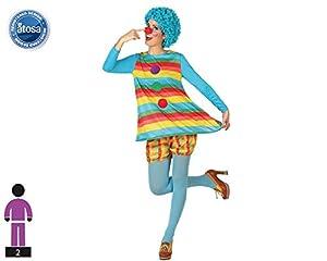 Atosa-26303 Disfraz vestido payasa rayas multicolores, XS-S (26303