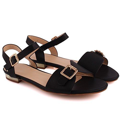 Unze New Women 'Caroline' Sling Retour Summer Beach Party Rejoindre Carnival Casual Sandales plates UK Taille 3-8 Noir