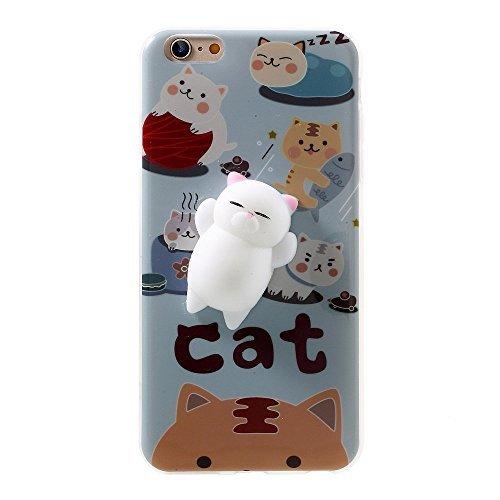 Xyiyi Kneten Squishy Katze iPhone 6S/6Fall, Finger Pinch 3D Cute Poke Squishy Cat Handy Rückseite aus weichem Silikon Schutzhülle für Apple iPhone 6/6S, iPhone 6/6s, Cat1 -