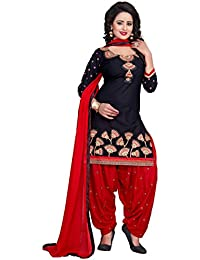 Taboody Empire Summer Special Navy Blue & Red Cotton Embroidered Attractive Simlpy Straight Patiyala Suit For...