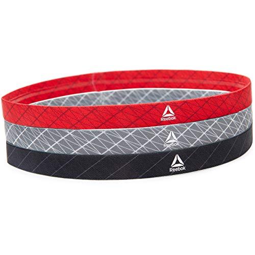 Reebok fasce per capelli sportive, nero, grigio, rosso