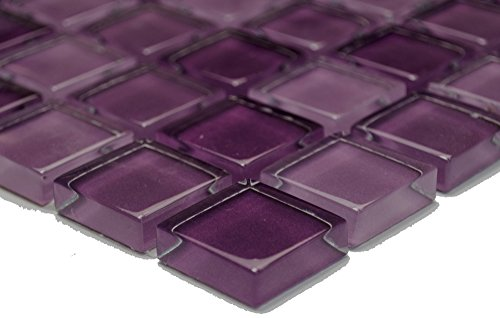 Mosaic Network Transparent 3D Translucent Mosaic Tile Square Crystal Mix Purple Glass Mosaic Tile Backsplash Wall Kitchen Bathroom Toilet