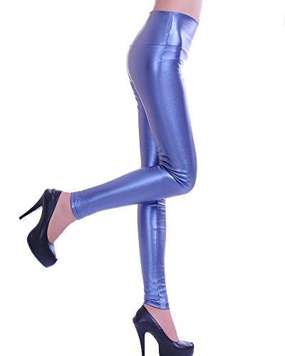 Donna Ecopelle a Vita Alta Leggings Skinny Collant Solido Colore Pantacollant Fuseaux Azzurro perla S(Vita 57CM)