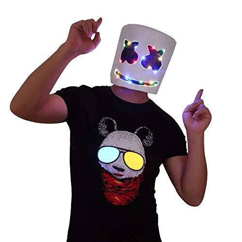 URMOSTIN LED Marshmallow DJ Maske, Full Head Latex Helm für Musikalische Festliche Halloween Party Nachtclub Cosplay Kostüm DJ Maske mit Buntem LED-Licht für Erwachsene und Kinder (Led Licht Kostüm Kind)