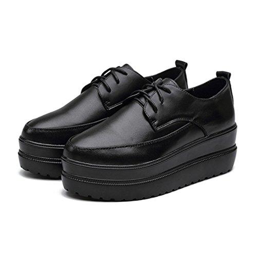 JRenok Chaussure Femme Lacets en Cuir Creepers Gothique Tête Pointue Talon Plat avec Plateforme Haute Chaussure Chaude Noir
