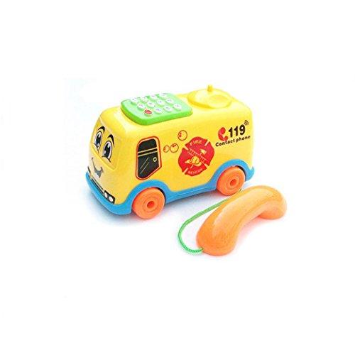 Elecenty Lernspaß Telefon Spielzeug Musik Cartoon Bus Kinderspielzeug Baby Lernspielzeug Bus Spielzeug Kunststoff für Kinder Spielzeug/Cartoon Spielzeug (13 cm, Zufällige Farbe) 13 Telefon