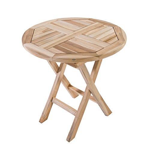 Klappbarer Beistelltisch Gartentisch aus Teak Holz 50x50 cm rund - Holztisch massiv (Teak-beistelltisch)
