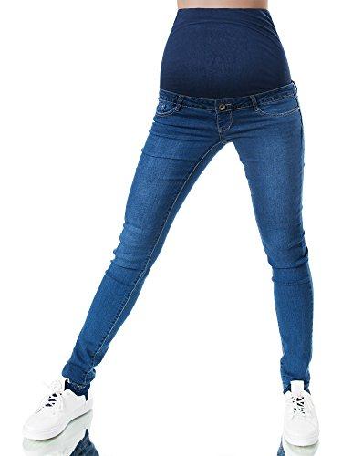 Umstandsjeans Stretch-Jeans f/ür Schwangere m Bauchband Damenjeans Jeanshose
