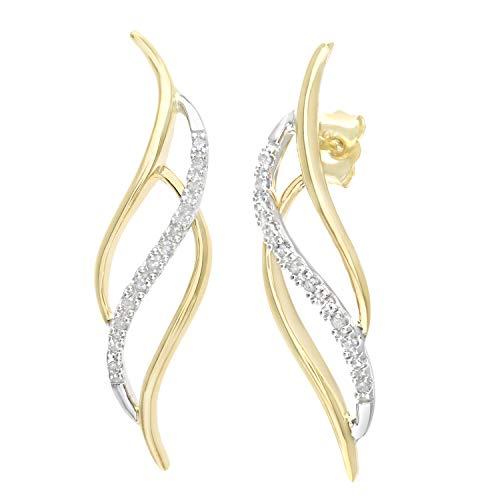 Naava - Pendientes para Mujer de Oro Bicolor 9K con Diamantes 0.1 ct