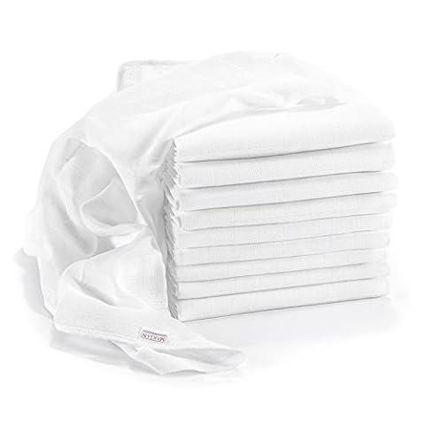 Mullwindeln / Spucktücher - 10er Pack, 80x80 cm, weiß   PREMIUM QUALITÄT - schadstoffgeprüft, doppelt gewebt, ÖKO-TEX zertifiziert, verstärkte Umrandung, kochfest   Stoffwindeln & Mulltücher fürs Baby