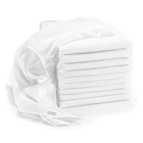 Thực phẩm trẻ em bán chạy tại Đức mull diapers / burp cloths - pack of 10, 80x80 cm, white | premium quality - tested for harmful substances, doubly woven, Öko-tex certified, reinforced border, boil-proof | cloth diapers & cheesecloths for the baby