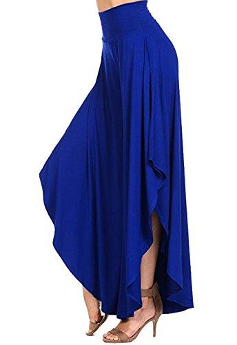 CROSS1946 Damen Einfarbig Elegant Hosenrock Haremshose Palazzo Hose Blau Large