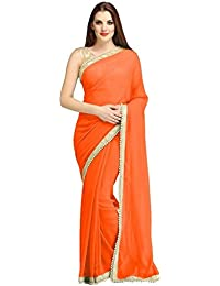 Floral Trendz Orange Designed Border Chiffon Weightless Womens Saree With Blouse Piece | Premium Quality Superb...