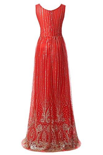 Prodotto di alta qualità Ivydressing donna collo Scheind tulle Bete circa dell'abito vestito da sera lungo party Rosso