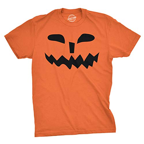 Mens Spikey Teeth Pumpkin Face Funny Fall Halloween Spooky T Shirt (Orange) - S - Herren - S ()