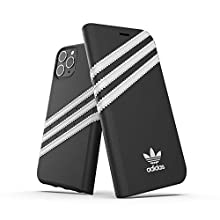 Adidas Originals Compatible with iPhone 11 Pro Case, Protective Folio PU Booklet Mobile Phone Case - Black/White