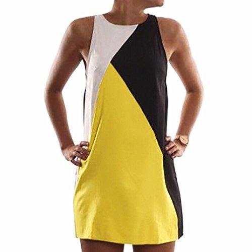 QIYUN.Z Les Femmes De La Mode Estivale Sexy Une Ligne Sans Manches Mince Patchwork Mini Robe Moulante Jaune