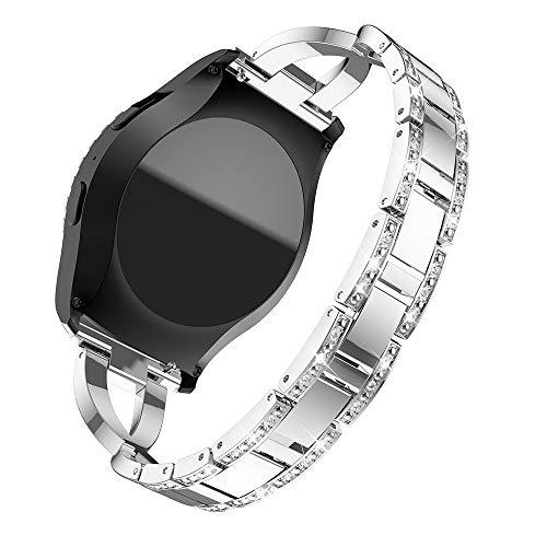 Bescita Edelstahl Armband | X Typ Diamant Luxuriöse Mode Ersatz Uhrenarmband Metall Strap Stahlgürtel Uhr Erstatzband Wrist Band für Mädchen für Samsung Gear S2 Classic R732 (20mm) (Silber) - Uhrenarmbänder Mädchen Für