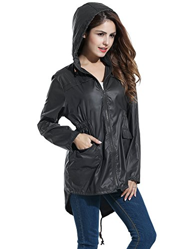 Keland Damen Regenjacke Funktionsjacke Windbreaker Atmungsaktiv winddicht wasserabweisend mit Kapuze und Tasche Schwarz