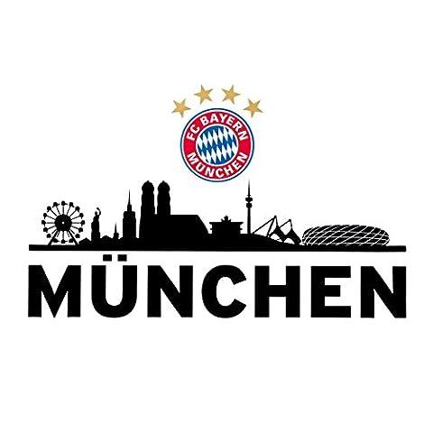 Wandtattoo Skyline FC Bayern München FCB + gratis Aufkleber, Munich, Wall Tattoo, Wandbild (Skyline Pin)