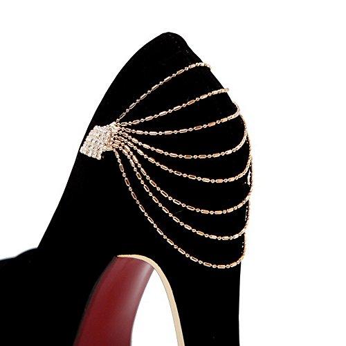 AllhqFashion Femme Rond à Talon Haut Dépolissement Couleur Unie Tire Chaussures Légeres Noir