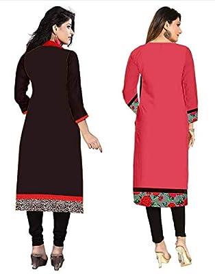 Platinum Women's Cotton Pack Of 2 Kurti (Plt 1702_Multicolor_Free Size, Semi-Stitched )