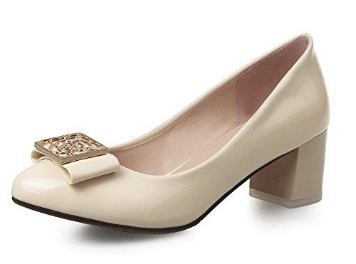AllhqFashion Femme Pu Cuir Mosaïque Tire Rond à Talon Correct Chaussures Légeres Beige