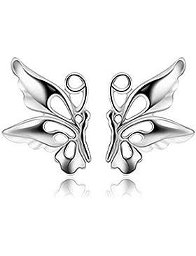 Modische Ohrringe Schmetterling Butterfly Ohrstecker Sterlingsilber Silber 925 für Damen, Frauen, Kinder