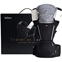 Bebamour Baby Carrier Hip Seat 6 in 1 Clasical Baby Carrier Backpack 0-36 Months with 3PCS Baby Drool Bibs, Convertible Baby Carrier (Black)