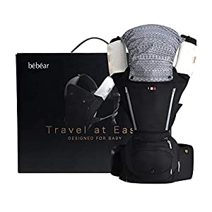 Bebamour Baby Carrier Hip Seat 6 in 1 Clasical Baby Carrier Backpack 0-36 Months with 3PCS Baby Drool Bibs, Convertible Baby Carrier (Black)   14