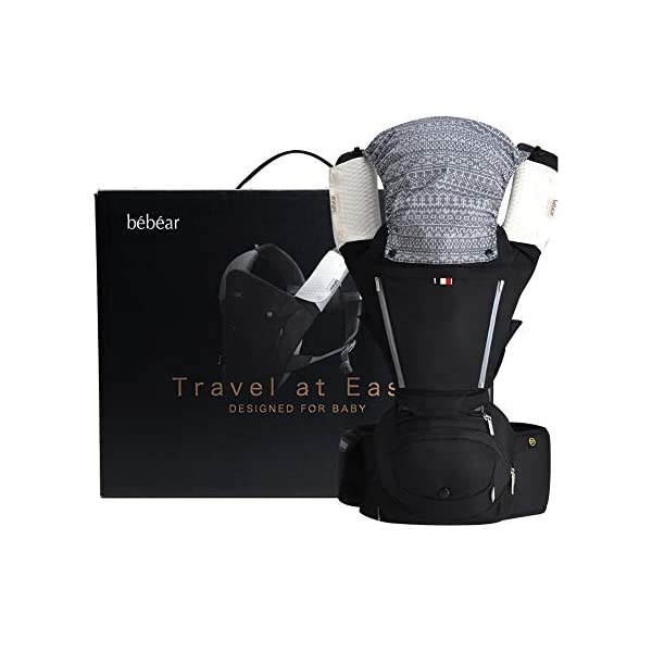 """Bebamour Baby Carrier Hip Seat 6 in 1 Clasical Baby Carrier Backpack 0-36 Months with 3PCS Baby Drool Bibs, Convertible Baby Carrier (Black) bebear ★SPORTY CHIC - The baby carrier is used soft classical cotton with polyester touching. The breathable effective is more than 76% which is better than ordinary cotton. Baby will feel best comfort and soft in it. ★C+M DESIGNED - Ergonomic baby carrier is all parents' pursue. The hip seat is designed according to baby's develoment. Size: L9.8""""*H11.8""""*W7""""(L25*H30*W18CM); Weight is about 1.82 lbs(0.83KG). The upper part can be detached to be a single seat. You can put baby in 3 ways, horizontal, face-forward and face-inward. ★GOLDEN RATIO - Best comfort for baby who is from 3-36months and whose biggest weight is about 33 lbs (14.9KG). Baby can be carried in another 3 ways by face-forward, face-inward and backpack position. 1"""