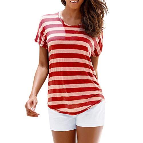 JURTEE Damen Bluse, Bohemian Casual O Neck Kurzarm Gestreiftes Tops T Shirt Sommer Oberteile Frauen(Medium,Rot)