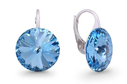 Ana Morales Boucles d'oreilles pour femme En argent Sterling 925 Avec cristaux Swarovski Aigue-marine