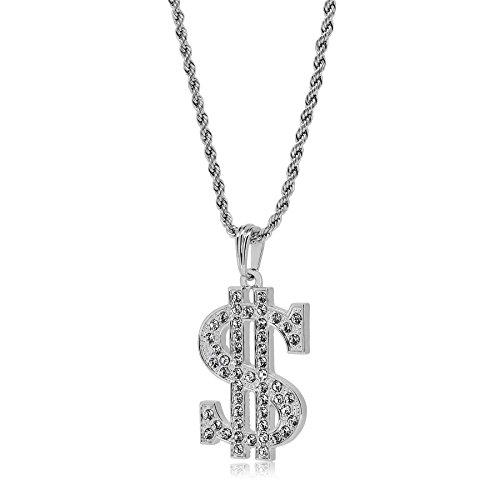 Silber Full Iced Out Bling Dollar Zeichen Anhänger HIP HOP Seil Kette Halskette