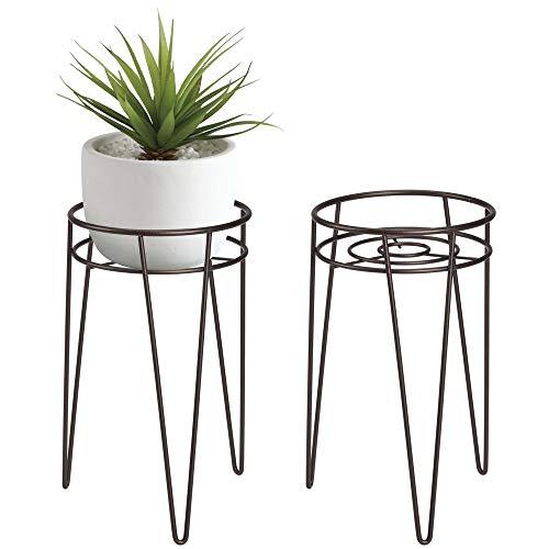 mDesign 2-er Set Midcentury Pflanzenständer für Blumen, Sukkulenten aus Metall - runder Blumenständer im modernen Design - platzsparende Blumensäule für drinnen und draußen - bronzefarben