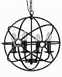 YAMEI Retro Industrie 4-Flammig Hängeleuchte, E14 Schwarz Metall Kerzen Pendelleuchte,für Wohnzimmer Esstisch Loft Café Lampe Mode Kreative Vintage kronleuchter Durchmesser 40CM